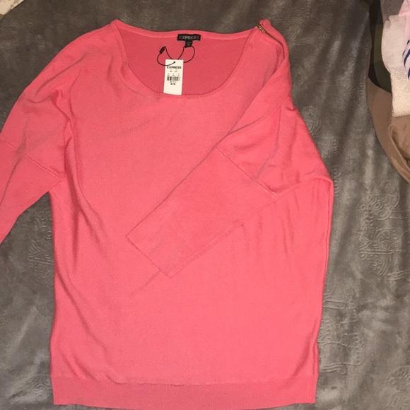Express Sweaters - Express coral zipper sweater